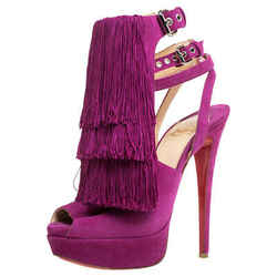 Christian Louboutin Fuchsia Suede Change Of The Guard Cross Ankle Strap Sandals