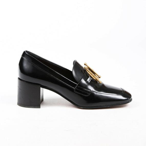 Christian Dior Direction Loafer Pumps Black Patent Leather Block Heel Sz 37.5