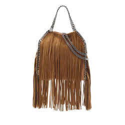 Stella Mccartney Falabella Mini Fringe Tote Bag Tan Brown Chain Silver Hardware