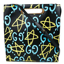 Gucci - New - Ghost Graffiti Star Tote - Shoulder Bag - Black Yellow Leather