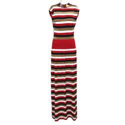 Sonia Rykiel Red/White/Gold Multicolor Casual Maxi Dress