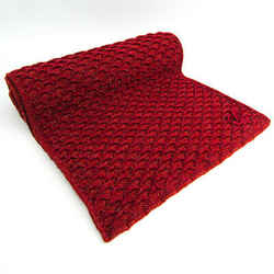 Chanel Coco Mark Muffler Unisex Wool Scarf Dark Orange,Red Color BF513118
