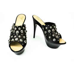 GIUSEPPE ZANOTTI: Black Leather & Silver Studded Platform Heels/Mules Sz: 6M