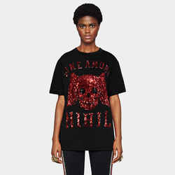 sz S NEW $1490 GUCCI Sine Amore RED SEQUIN WINGED SKULL Oversized TEE SHIRT TOP