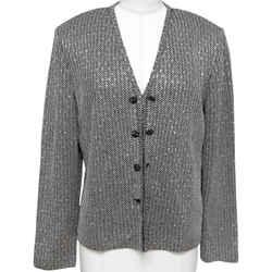 ST. JOHN EVENING Jacket Cardigan Sequin Black Silver Rhinestone Knit Blazer Sz 8