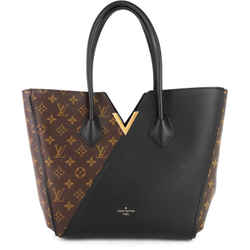 Kimono Monogram Canvas and Black Leather Bag