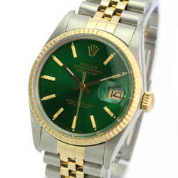 Rolex Men's Datejust Two-tone 36mm Green Index Dial 18K Fluted Bezel Watch