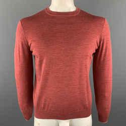 Brunello Cucinelli Size M Brick Knitted Wool / Cashmere Crew-neck Pullover Sweater
