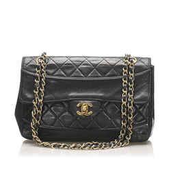 Vintage Authentic Chanel Black Lambskin Leather Leather CC Flap Bag France