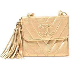 Auth Chanel Chanel Lambskin V Stitch Fringe Mini Shoulder Bag Gold