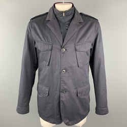 Z Zegna Sport Size L Navy Waterproof Layered Military Jacket