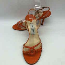 Jimmy Choo Orange Ankle Strap Heel 8