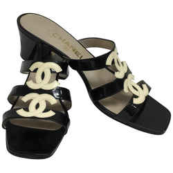Chanel Black Patent Leather Slip On with White Cc Logo Sandals Size: US 8.5 Regular (M, B) Item #: 25705485