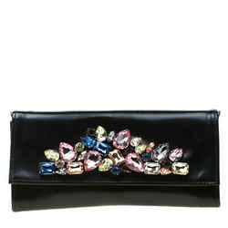 Roberto Cavalli Black Crystal Embellished Leather Chain Clutch