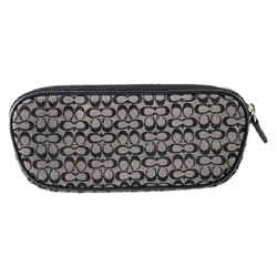 """Coach Signature C Canvas Leather Black Cosmetic Zip Around Pouch 7""""l X 3""""h X 1""""w"""