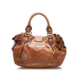 Vintage Authentic Miu Miu Brown Calf Leather Bow Handbag France w/ Dust Bag