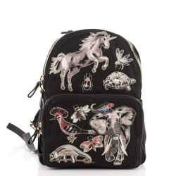 Rockstud Backpack Embroidered Canvas Medium