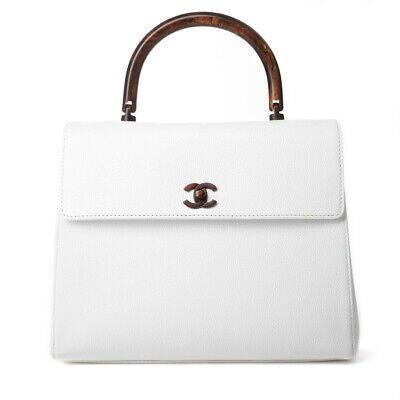 Auth Chanel Chanel Caviar Skin Wood Handle Handbag White