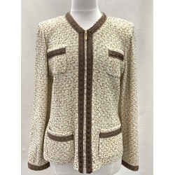 Authentic St. John Ivory/brown Tweed Zip Front Jacket