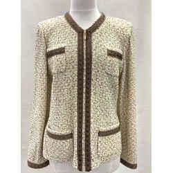 Authentic St. John Ivory/brown Tweed Zip Front Jacket