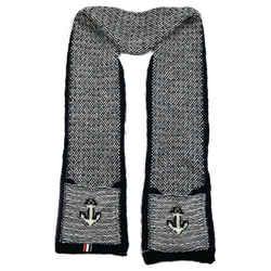 Thom Browne - Scarf - Anchor Black & White Wool Knit - Pockets - Long - Unisex