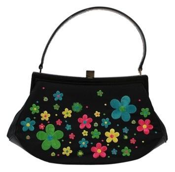 Moschino Bright Floral Black Tote Bag