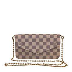 "Louis Vuitton Felicie Rose Ballerine Damier Azur Canvas Cross Body Bag 8.3""l X 1.2""w X 4.5""h"