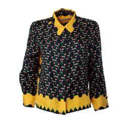 Marni Yellow Multi Print Polo Neck Blouse