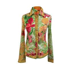Versace Multicolor Floral Cotton Button Down Shirt Size 38 IT