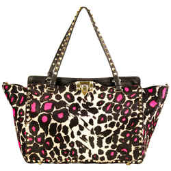 Valentino Cavalier Rockstud Pink Leopard Calf Hair Shoulder Bag