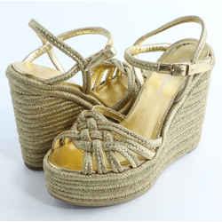 Saint Laurent Metallic Espadrille Wedge Sandals