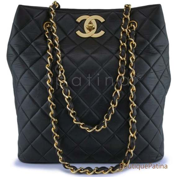 Chanel Black Lambskin Vintage Lambskin Soft Vertical Tote Bag 24k GHW