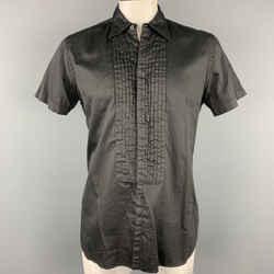 PRADA Size L Black Pleated Cotton Button Up Short Sleeve Shirt
