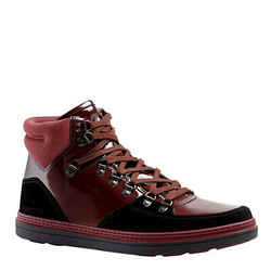 Gucci Men's Contrast Combo Dark Red Patent Leather / Suede High Top Sneaker