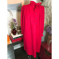 Emanuel Ungaro Size 6 Red Wool Flannel Dress Vintage 1980s 369-109-21520