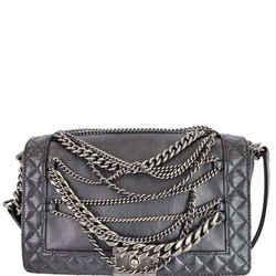 Chanel Boy Enchained Medium Calfskin Leather Flap Shoulder Bag Black