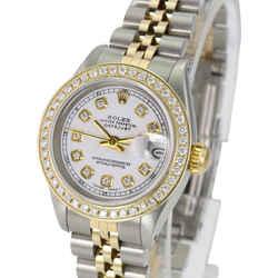 Rolex White Lady Datejust Diamond Dial Diamond Bezel 26mm-quickset Watch