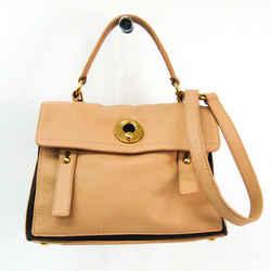 Yves Saint Laurent Muse Two 283761 Women's Leather,Canvas Handbag Beige BF507905
