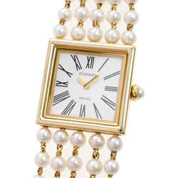 Vintage Authentic Chanel White Mademoiselle Pearl Watch Switzerland