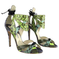 Brian Atwood Uma Snakeskin In Multi Color Pumps Size: US 7.5