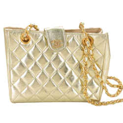 Chanel  Metallic Gold Quilted Chain Tote 868895