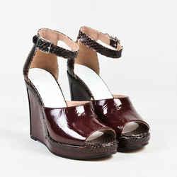 Maison Martin Margiela NIB Red Patent Leather Embossed Snakeskin Sandals SZ 37