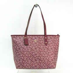Coach Chain Print 37854 Women's PVC,Leather Tote Bag Bordeaux BF503985