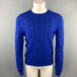 Polo By Ralph Lauren Size S Royal Blue Knitted Cashmere Crew-neck Pullover