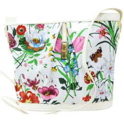 Gucci Flora White Floral Bucket Shoulder Bag 863297