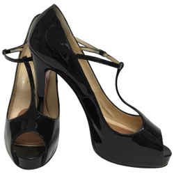 Christian Louboutin Black Patent Leather T Strap Pumps Size: EU 42 (Approx. US 12) Regular (M, B) Item #: 25783161