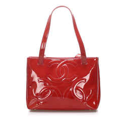 Vintage Authentic Chanel Red Patent Leather Leather Triple Coco Tote Bag France