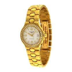 Longines Ladies Conquest 18k Gold Diamond Bezel Watch