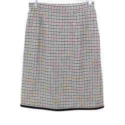 Valentino Brown Tan Tweed Wool Velvet Skirt Sz 10