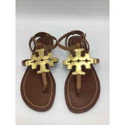 Tory Burch Size 9.5 Gold & Tan Sandals